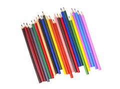 Color pencil isolated, top view Stock Photos