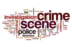 Crime scene word cloud Stock Illustration
