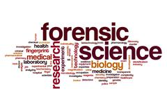 Forensic science word cloud Stock Illustration