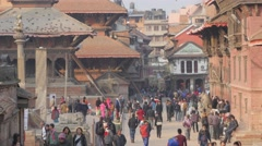 Crowds walking on Durbar square,Patan,Nepal Stock Footage