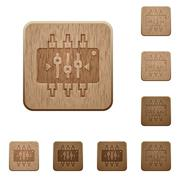 Chip tuning wooden buttons Stock Illustration