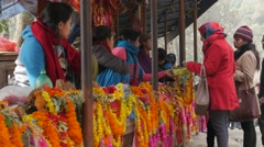 Flower garlands for sale for temple,Dakshinkali,Nepal Stock Footage