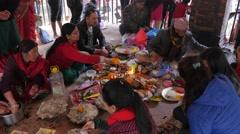 Pilgrims at small hindu ceremony,Dakshinkali,Nepal Stock Footage