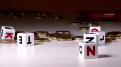 £1 coins, 'pension' in letters and a wooden cane knocks it over. Stock Footage