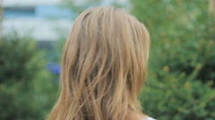 Portrait of a young , attractive girl without makeup with natural hair color Stock Footage