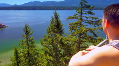 4K Man Hiker at Top Mountain View, North West Pacific Gulf Islands Stock Footage
