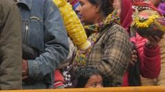 Pilgrims holding sacrifice waiting for  entry temple,Dakshinkali,Nepal Stock Footage