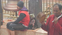 Nepali priests at ceremony in temple,Dakshinkali,Nepal Stock Footage