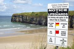 Lifeguards notice at ballybunion resort Stock Photos