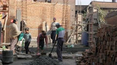 People rebuilding house by hand,Bhaktapur,Nepal Stock Footage