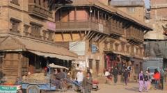 People walking on busy street,Tachupal Tole,Bhaktapur,Nepal Stock Footage