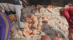 Cooled down pottery in kilns,Bhaktapur,Nepal Stock Footage