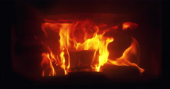 Closeup fire flames in fireplace Stock Footage