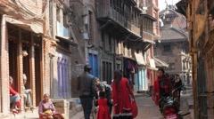 Busy street with pedestrians,Bhaktapur,Nepal Stock Footage