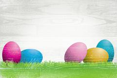 Easter Eggs Painted Over Whitewashed Boards Stock Illustration