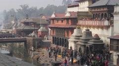Cremation cermony at Pashupatinath,Kathmandu,Nepal Stock Footage
