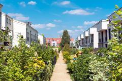 Neighborhood with gardens in Berlin Stock Photos