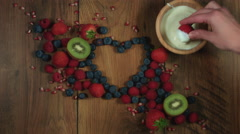 4k Colourful Composition of Fresh Fruits and Yogurt - Wooden Background Stock Footage