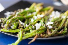 Asparagus and coarse salt Stock Photos