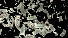 Money Falling Dollars Financial Win US USA American Currency Tax Make It Rain 4k Stock Footage