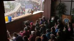Buddhist people praying at stupa,Kathmandu,Boudhanath,Nepal Stock Footage