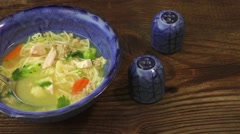 Chicken soup with vegetables Stock Footage