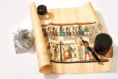 Egyptian scroll, pen, magnifier and treasures in the bag Kuvituskuvat