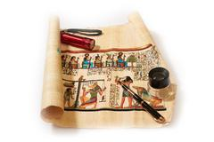 Study of Ancient Egyptian Religion in the drawings on papyrus Stock Photos