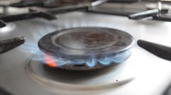 Gas Stove Burner Flame Stock Footage