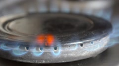 Gas Inflammation In Stove Burner, Close Up View Stock Footage