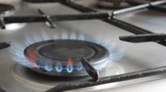 Gas Burner On Stove Stock Footage
