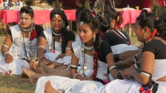 Nepali girls in beautiful dress at festival,Chitwan,National Park,Nepal Stock Footage
