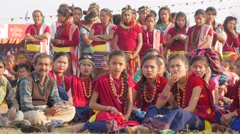Nepali girls  waiting award ceremony,Chitwan,National Park,Nepal Stock Footage