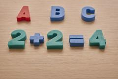 Letters and numbers on the table Stock Photos
