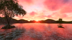 Amazing Sunset Footage with Hills Animated Plants and Trees with Clear Water Stock Footage