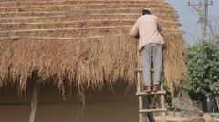 Man repairing reed roof,Chitwan,National Park,Nepal Stock Footage