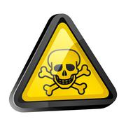 The skull is a warning sign light surround Stock Illustration