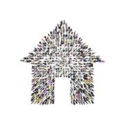 Aerial view of people that are grouping in house shape. 3D Rendering Stock Illustration