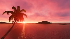 Sun Rise in Ocean with Pink Clouds in Sky Sunset Footage Nature Stock Video Stock Footage