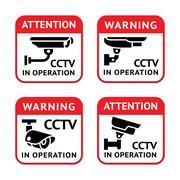 Video surveillance signs set Stock Illustration