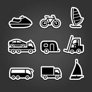 Set simple stickers transport Stock Illustration