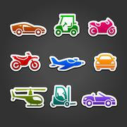 Set stickers transport color icons Stock Illustration