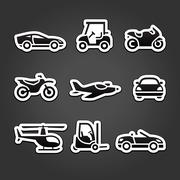 Set stickers transport icons Stock Illustration