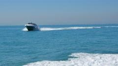 Luxury motor boat in navigation, motoryacht, Stock Footage