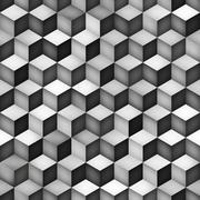 Vector Seamless Greyscale Gradient Cube Shape Rhombus Grid Geometric Pattern Stock Illustration