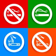 Stickers multicolored. No smoking area labels Stock Illustration