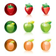 Strawberry Apple Apricot Stock Illustration