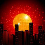 Golden disco ball over abstract cityscape Stock Illustration