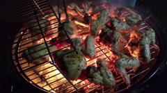 Chiken wings on grill in fire Stock Footage