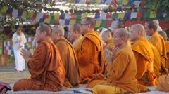 Monks praying and bowing,Lumbini,Nepal Stock Footage